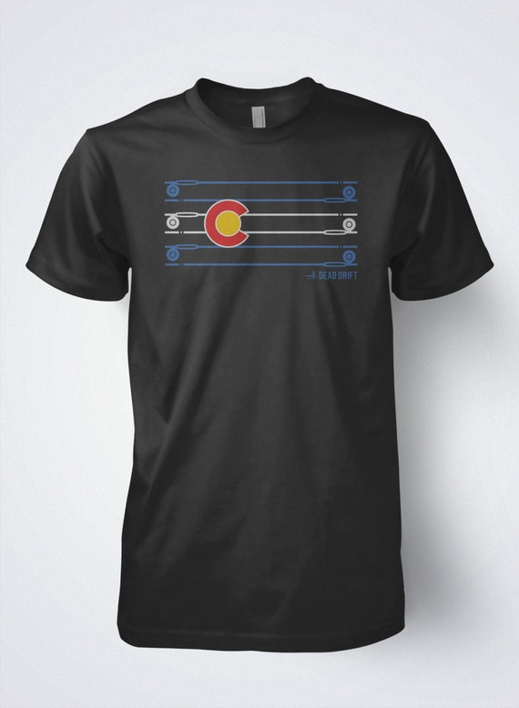 Fly fishing t shirt colorado flag rod and reel by by deaddrift for Fly fishing shirt