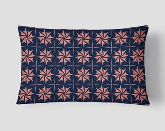 Geometric Long Cushion, Coral Navy Pillow, Pattern Lumbar Pillow, 14x20 Cushion Cover, Decorative Pillow, Throw PIllow, Cushion and Insert
