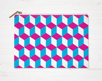 Geometric Makeup Bag, Pink Blue Purse, Squares Cosmetic Bag, Pattern Pouch, Small Accessory Bag, Large Toiletry Bag, Pencil Case