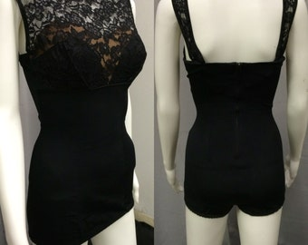 Vintage 1950'S Black PIN-UP Bathing Suit with Lace Neckline by Rose Marie Reid