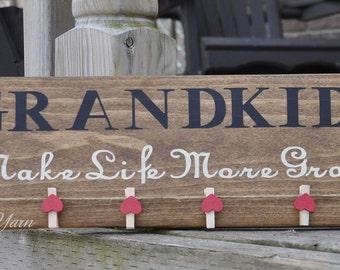 Grandkids Make Life More Grand. Grandparents gift. Picture holder