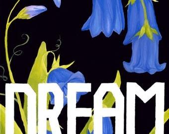 Modern flower painting – Bluebell Dream – flower painting – 8x10