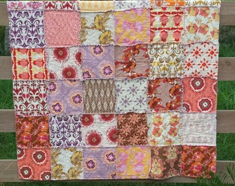 Rag Quilt / Throw Blanket / Lilliput Fields by Tina Givens /  Girls Throw Blanket