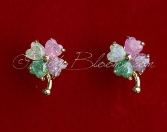 Crystal Pink Green St. Patrick Day Earrings, Four leaf clover Irish Luck Earrings. Shamrock Irish Wedding Jewelry Bridal Accessory