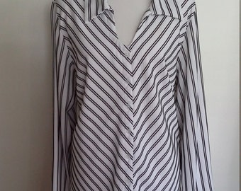 Steampunk top, striped top, nautical blouse, size XXL,  plus size, 3X, striped top, nautical top, long sleeve top, white top