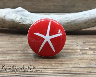 "1.5"" Red and White Starfish Knob - Nautical Theme Drawer Pull - Primary Colors Nursery - Sea Star Ceramic Decorative Knobs"