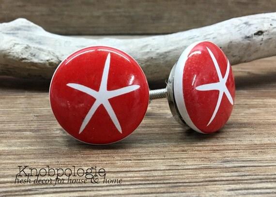 1 5 Quot Red And White Starfish Knob Nautical Theme Drawer