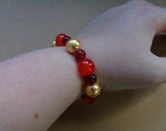 Warm colours beaded bracelet