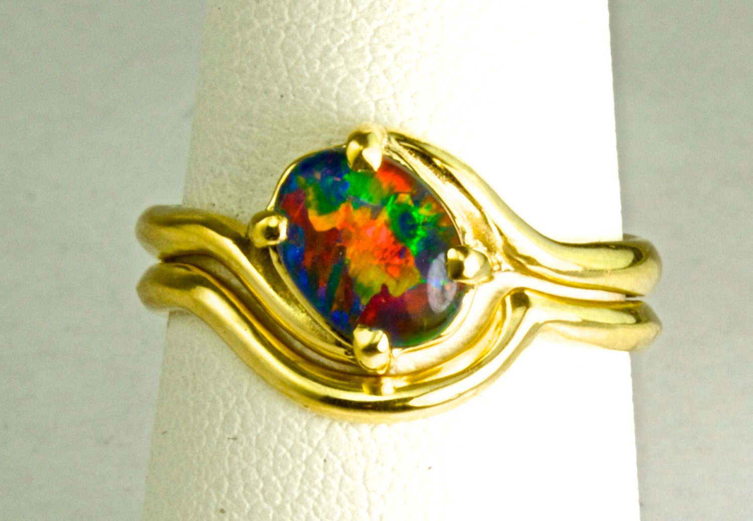 SHOP SPECIAL Opal Engagement Ring Wedding set With Optional
