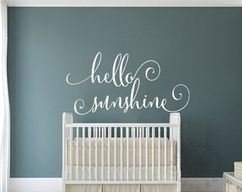 Hello sunshine wall decals Nursery hello sunshine wall sticker Nursery quote wall mural Hello sunshine quote wall art