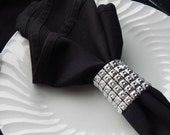 Wide SILVER FAUX RHRINESTONE Linked Napkin Rings,25Rhinestone Napkin Holders, Wide Napkin Rings, Gothic Wedding,  Wedding Home Table Decor.