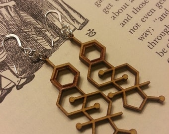 Laser Cut Estrogen Molecule Earrings - Chemistry Earrings - Nerdy Gift for Her