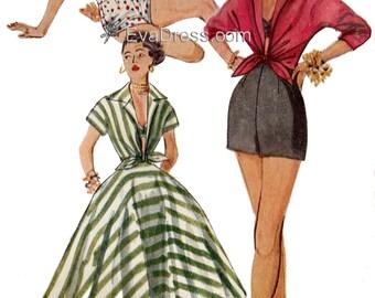 1953 Shorts, Bra, Skirt and Shirt EvaDress Pattern