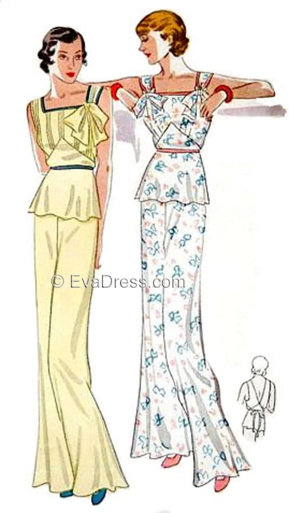 1930s Dresses, Clothing & Patterns Links 1935 Lounging Pajamas Pattern by EvaDress $20.00 AT vintagedancer.com