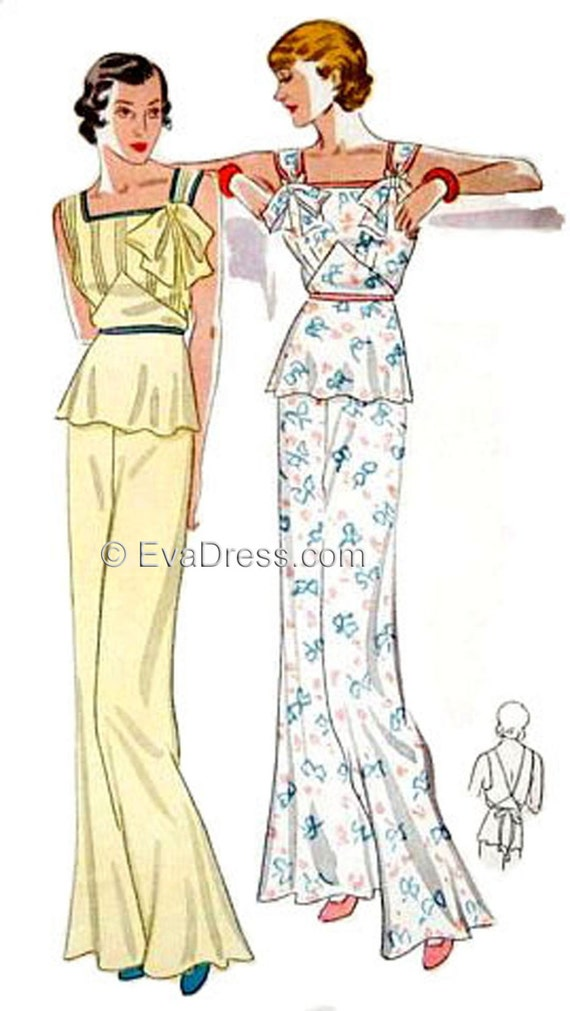 Vintage Inspired Nightgowns, Robes, Pajamas, Baby Dolls 1935 Lounging Pajamas Pattern by EvaDress  AT vintagedancer.com