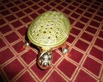 Vintage Ormolu Casket, Enamel Box, Metal Box, Jewelry Box, Vintage, Trinket Box, Ring Dish, Incense Burner, Turtle, Figurine, Gift For Her,