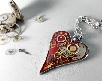 Deep red steampunk heart pendant, gears and cogs necklace, romantic steampunk jewelry, red heart necklace, gift for girlfriend