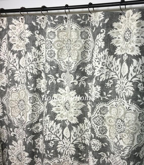 Custom Fabric Shower Curtain Belmont Metal Grey Beige Cream 72