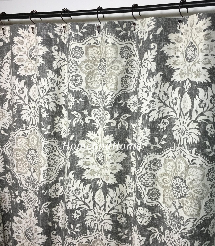 Shower Curtain Belmont Metal Grey Beige Cream 72 X 84 96 108