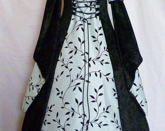 Goth black and blue hooded velvet dress, medieval gown, pagan costume, handfasting dress Renaissance wedding custom made to any size