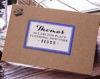 Personalized Custom Wood Handle Rubber Address Stamp-Wedding Script