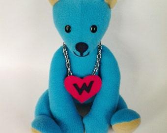 SALE Blue Bear Teddy, Stuffed Bear, Bear Animal, Plush Bear, Soft Toy Bear, Stuffed Animal, Sort Bear, Blue Kawaii Gift, FREE SHIPPING
