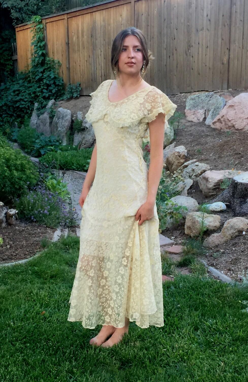 Ivory art deco dress 20s lace dress antique wedding dress zoom ombrellifo Choice Image