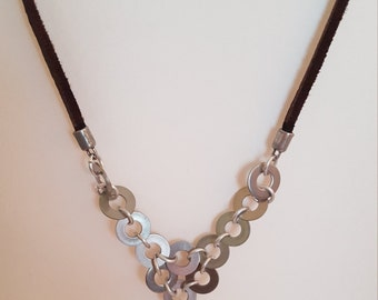 Stainless steel washer necklace, Washer necklace, Handmade jewelry, Upcycled necklace, metal and leather necklace, fashion necklace