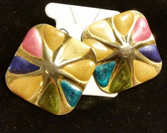 Vintage earrings from 1980s, multicultural enamel on square gold