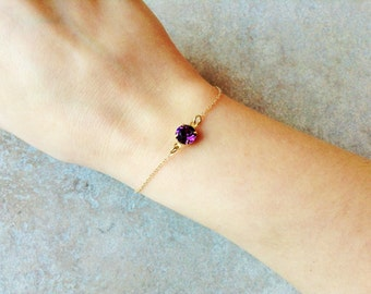 Amethyst bracelet, minimalist gold bracelet, gold dainty bracelet , february birthstone bracelet, amethyst jewelry