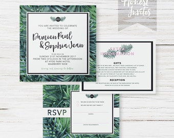 Tropical Wedding Suite - Main Invite - RSVP - Other card - envelopes - blessing and honour - invitation
