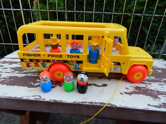 vintage fisher price yellow school bus with children dog. Black Bedroom Furniture Sets. Home Design Ideas