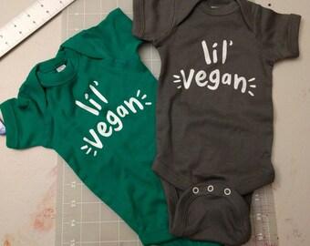 Vegan Baby -- Hand Screened Infant Bodysuit baby gift vegan - GREEN