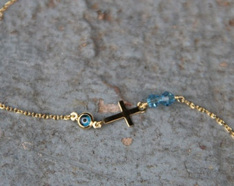 Evil eye Bracelet,Gold Evil eye,Gold Bracelet,Protection Bracelet,Good Luck,Cross Sideways,Glass Evil Eye,Gold Cross,Christian jewelry