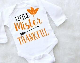 Little Mister Thankful Baby Boy Thanksgiving Bodysuit. Baby Boy Thanksgiving Outfit. Boys Thanksgiving Shirt.
