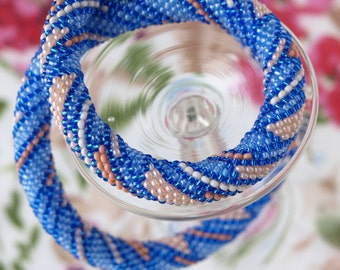 Blue beige necklace Strip necklace Bead crochet rope Seed bead necklace Beaded necklace