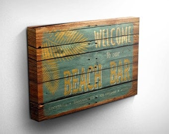 Beach Bar Sign Wood Effect Canvas Print , Ideal Gift Idea, Inspirational Art, Birthday Gifts