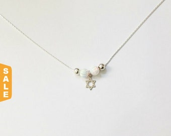 Opal necklace Silver Opal Necklace Star of David Opal Bead Sterling Silver Minimalist Dainty Jewish Necklace ,Gift for her,bat mitzvah gift