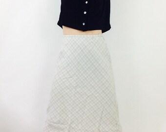 vintage linen skirt plaid skirt beige skirt oatmeal linen skirt vintage natural skirt long linen skirt long vintage skirt size small skirt s