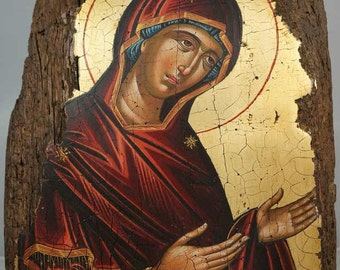 Theotokos Deesis Dionysiou Monastery Mount Athos Hand-Painted (Written) Orthodox Byzantine Icon on Wood (Premium Quality)