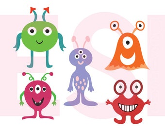 Space alien designs, SVG, DXF, PNG & Eps, svg cutting files, use with Silhouette Studio and Cricut Design space. Space svg, Kids svg files