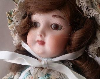 """Unusual HANDWERCK Antique GERMAN Reproduction Porcelain Doll 109 7-1/2 Artist Made Doll 14"""" Drop Waist Dress with Matching Bonnet"""