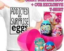 Shopkins Toys Surprise Bags, Surprise Eggs - My Little Pony & Frozen Girls Giant Filled Egg + Treats + Our Exclusive T-shirt, Birthday Gift