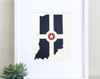 Indiana Indianapolis Flag Papercut Art