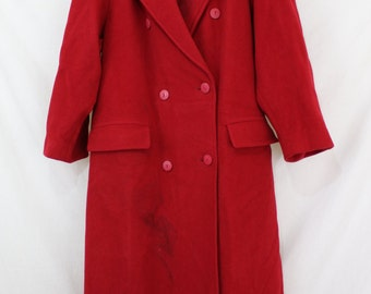 Coat 1970s Red Double Breasted Ankle Length