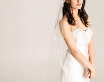 Ivory mantilla veil, Mantilla Veil, Lace Veil, Eyelash Lace veil, lace Bridal Veil, Fingertip Mantilla Veil, ivory lace veil, Ivory mantilla