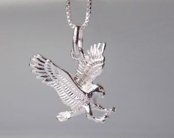 Eagle Necklace, Silver Eagle Charm, Silver necklace, Eagle Jewelry, Sterling Silver Necklace, Silver Eagle Pendant American Eagle, Stampsink