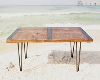 Reclaimed Wood Coffee Table With Inlaid Metal Strips, Industrial Coffee  Table, Urban Coffee Table