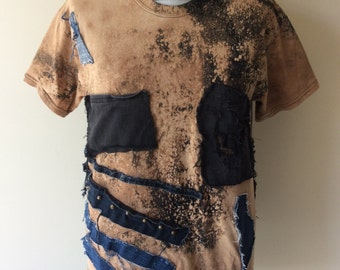 Men's Bleached Post Apocalyptic Patched Studded Short Sleeve Cotton T-Shirt