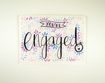 You're ENGAGED! Congratulations, Handmade Typography Card, Unique, Illustration, Diamond Ring